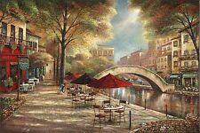 RIVERWALK CAFE RUANE MANNING ART PRINT bistro along river sidewalk 36x24 poster