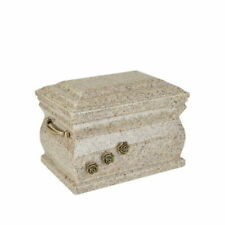 Granite Casket Cremation Ashes Urn for Adult With Brass Roses Funeral Memorials
