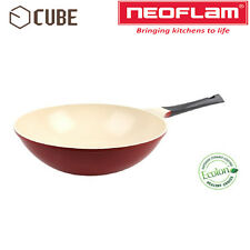 [NEOFLAM]ECOLON Coating Cube 30cm Wok Pan Deep Red Non-stick Natural Coating