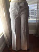 NEW Liz Claiborne Jackie Women's Pants Pinstripe White Gray Wide Leg Sz 8