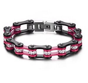 "Womens Biker Chain Bracelet 1/2"" Black & Pink with Rhinestones Stainless Steel"