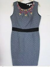 CLEMENTS RIBEIRO TK MAXX Navy Embellished Shift Dress All Occasions Size M - 12