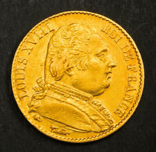 1814-A, France (1st Restoration), Louis XVIII. Gold 20 Francs Coin. XF+ 6.41gm!