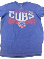 Majestic Mens Sz Large L Chicago Cubs  T Shirt Blue Short Sleeve MLB