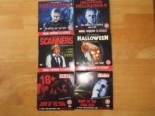 SET OF 6 CLASSIC HORROR FILMS NEWSPAPER PROMO R2 DVDS HALLOWEEN/HELLRAISER ETC