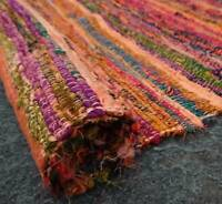 VINTAGE CHINDI DARI  COTTON INDIAN HANDMADE RAG RUG MULTI THROW 5X7 FEET WOVEN