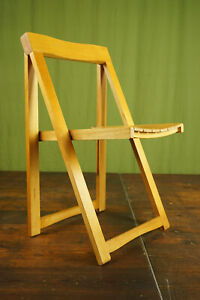 60er Folding Chair Metal Vintage Aldo Jacober Bazzani mid-Century Wood 70er