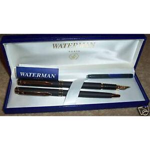 Waterman Exclusive Set 18k Gold Fine Pt Fountain Pen & Ballpoint Pen  New In Box