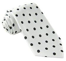 New men's polyester woven neck tie necktie prom polka dots white black