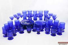 59pc Set Cobalt Blue Glassware Plates Cambridge 3122 Stemware Tumblers Cups VTG