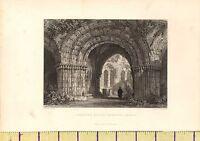 1842 Antico Vittoriano Stampa ~Chapter-House~ Furness Abbey Cumbria