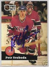 PETR SVOBODA  Montreal Canadiens 1992 PRO SET  AUTOGRAPHED HOCKEY CARD JSA