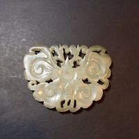 Antique Jade Carved Butterfly Pendant
