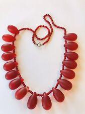 amazing Vintage glass beads neklace cranberry cherry colour