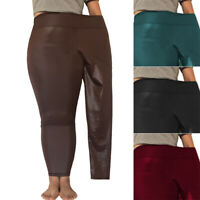 Women Ladies PU Leather Trousers High Waist Slim Fit Stretchy Pants Plus Size