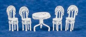 Dolls House White Wire Patio Dining Room Miniature 1:24 Garden Furniture Set