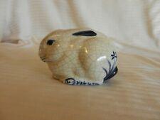 Blue & White Ceramic Sitting Rabbit Figurine, Crackled Finish, Flowers on rear