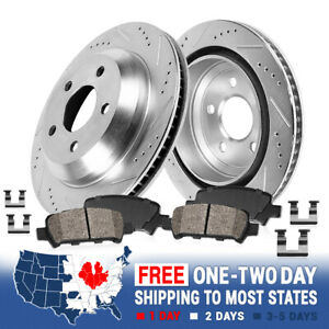 For 2003 - 2014 Volvo XC90 Rear Drill & Slot Brake Rotors And Ceramic Pads