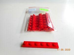 10x Lego 36606 Basis-Platte 1x6 rot