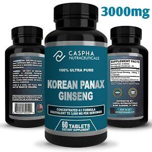 Caspha Nutraceuticals Korean Panax Ginseng Ultra Pure 3,000mg per Serving