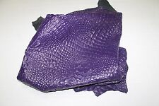 Italian lambskin leather skin skins PURPLE ALLIGATOR CROCODILE EMBOSSED 5sqf