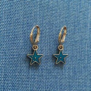 Rose Gold Huggie Hoop Earrings With Blue Star Charm