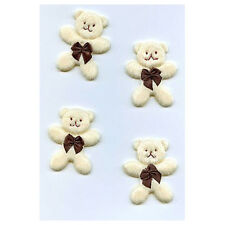 Embellishments - Fabric Teddies, 5cm approx, pk of 4
