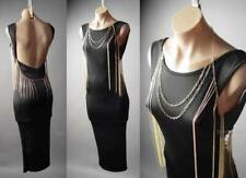 Gold Fringe Body Chain Necklace Open Back Backless Black Pencil 296 mvp Dress L