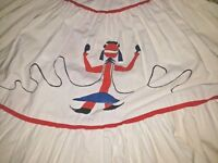 VINTAGE Skirt Kachina Doll Novelty Circle Tiered Full Sweep 1950s Patio Western