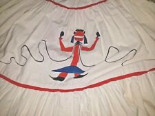 Vintage Patio Skirt Kachina Doll Novelty Circle Tiered Full Sweep 1950s Western