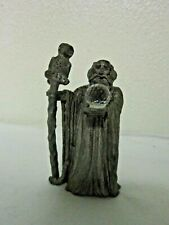 "Spoontiques Pewter Wizard/Bird Figurine w/Glass Crystal Ball ~ 2.75"" T ~ Hmr1502"