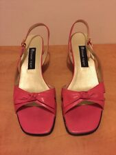"Etienne Aigner 'Tomorrow' Fuchsia Leather Slingback Sandals 2.5"" Wedge Sz 9 Shoe"
