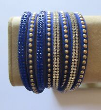 Wrap Around Bracelet - blue silver beads blue crystals - snap closure- 16""