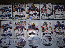 PLAYSTATION 2(5 GAME LOT)MADDEN 2001/2002/2003/2004/2005 USED UNTESTED