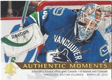 Cory Schneider 2012-13 SP Authentic Moments Limited On Card Autograph 179 Auto