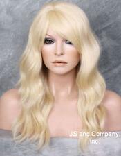 HUMAN HAIR Blend Wig Wavy Pale Blonde Heat Safe Bangs WBMS 613