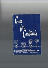 Vintage Collectible 1953 Cues for Cocktails Recipe Guide Booklet