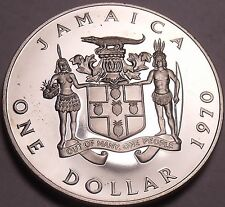 Rare Cameo Proof Jamaica 1970 Dollar~Prime Minister~Only 14,000 Minted~Free Ship