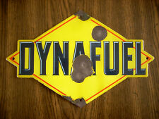 Vintage Original Sunoco Dynafuel Pump Plate Single Sided Porcelain Sign