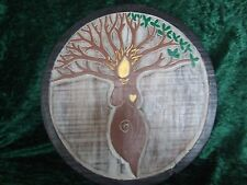 Tree Goddess Wall Plaque Rustic Style Wooden Pagan Wicca 29 cm Hand Carved