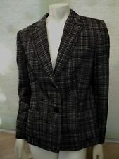 Jaeger - Size 12 - Black / Ivory Check Wool / Silk Lined Jacket