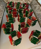 Vintage Set 14 Red Green Napkin Holder Rings Glass Balls Beads Christmas Holiday