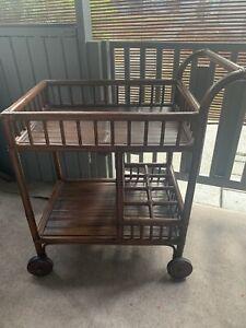 Vintage Mid Century Bamboo Rattan 2 Tier Rolling Bar Breakfast Serving Cart