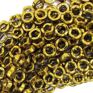 "12mm hematite twist donut beads 16"" strand gold"