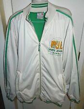 Pepe Jeans London PJL Men's White Green Embroider Trim Track Jacket Size 2XL XXL