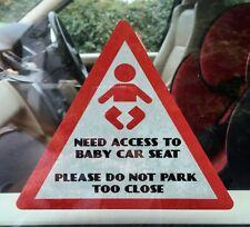 CAR SIGN BABY CAR SEAT STICKER DO NOT PARK TOO CLOSE Gift Reusable 15cm x15cm