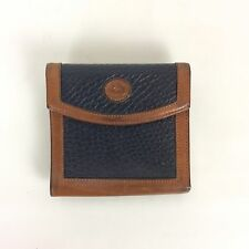 Dooney & Bourke French Wallet Navy Brown Pebbled AWL Leather Metal Frame Vtg 80s