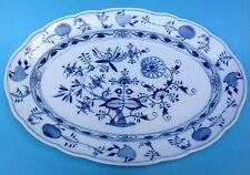 Meissen 45 cm große ovale Porzellan Servierplatte Zwiebelmuster kobaltblau ~1900