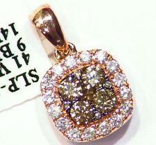1.66CT 14K Gold Natural Diamond Blue Round Cut Vintage Reversible Necklace Deco