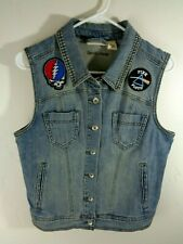 rock vest womens medium rock band patches pink floyd led zeppelin grateful dead